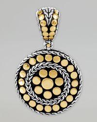 John Hardy | Metallic Dot Gold Silver Small Round Pendant | Lyst