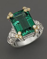 Judith Ripka | Metallic Estate Emerald Cut Ring with Green Quartz and White Sapphires | Lyst
