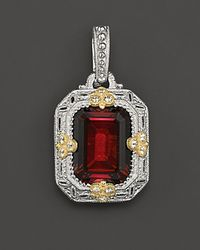 Judith Ripka - Metallic Sterling Silver and 18k Gold Estate Enhancer Pendant with Labcreated Red Corundum and White Sapphires - Lyst