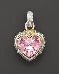 Judith Ripka | Sterling Silver Large Pink Heart Stone Enhancer | Lyst