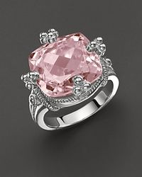 "Judith Ripka | White Sterling Silver ""Olivia"" Ring With Pink Crystal Stone 