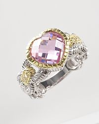Judith Ripka | Metallic Sterling Silver Pink Stone Heart Ring | Lyst