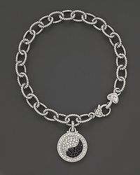 Judith Ripka | Metallic Sterling Silver Ying Yang Bracelet with Black and White Sapphires | Lyst