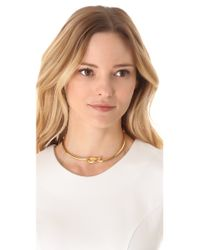 Kenneth Jay Lane | Metallic Polished Knotted Collar Necklace | Lyst
