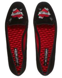 ASOS - Black Lux Velvet Embroidered Heart Slipper Shoes - Lyst