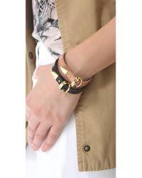 Linea Pelle - Black Avery Buckle Leather Bracelet - Lyst