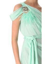 Matthew Williamson - Green One Shoulder Silk Dress - Lyst