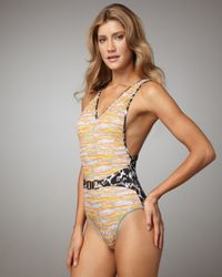 Matthew Williamson - Natural Belted Mixed-print Swimsuit - Lyst