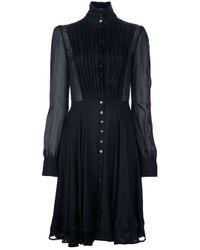 Alexander McQueen   Black Sheer Pleat Dress   Lyst