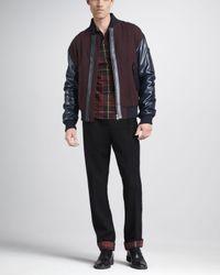 McQ - Blue Leather trim Varsity Jacket for Men - Lyst