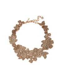 Oscar de la Renta | Metallic Antique Lace Bib Necklace | Lyst