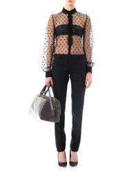 Saint Laurent | Black Satin Stripe Tuxedo Trousers | Lyst