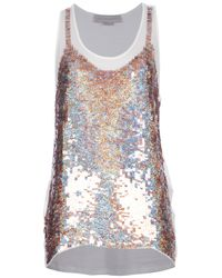 Stella McCartney | Metallic Sequin Embellished Vest | Lyst