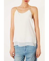 TOPSHOP - White Silk and Chiffon Layer Cami - Lyst