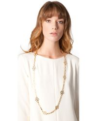Tory Burch | Metallic Large Clover Necklace | Lyst