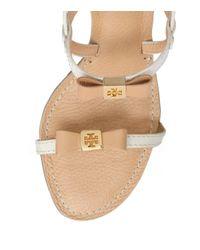 Tory Burch | Beige Kailey Mid Heel Sandals | Lyst