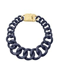 Tory Burch | Blue Resin Necklace with Monogram Clasp | Lyst