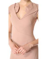 Zac Posen - Brown Short Sleeve Collared Dress - Lyst