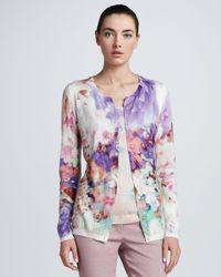 ESCADA Multicolor Floralprint Woolsilk Cardigan