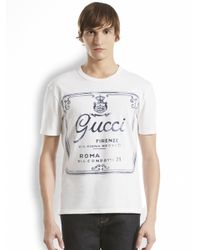 Gucci - White Printed Cotton Jersey Tee for Men - Lyst