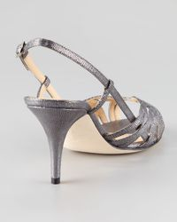 kate spade new york - Shari Metallic Lizard-print Sandal - Lyst