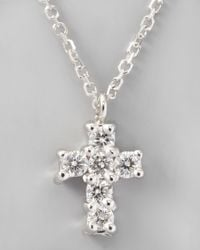 KC Designs | Small Diamondcross Pendant Necklace White Gold | Lyst
