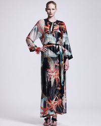 Lanvin   Blue Tropicalprint Caftan Maxi Dress   Lyst