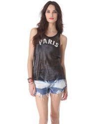 Love Leather - Black Paris Leather Mesh Tank - Lyst