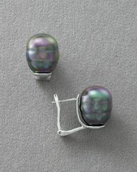 Majorica | Gray Womens 14mm Pearl Earrings Pierced | Lyst