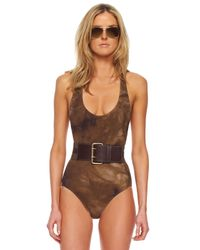 Michael Kors - Brown Belted Racer-Back Maillot Swimsuit Olive Tie Dye - Lyst