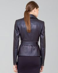 Akris - Blue Shimmer Suede Moto Jacket - Lyst
