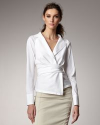 Donna Karan - White Poplin Shirt Jacket - Lyst
