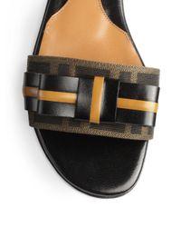 Fendi | Black Leather Jacquard Canvas Slide Sandals | Lyst