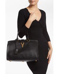 Saint Laurent | Black 'ligne Y' Leather Satchel | Lyst