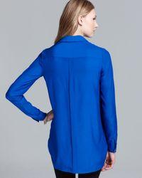 Lafayette 148 New York - Blue Shonda Blouse with Detachable Collar - Lyst
