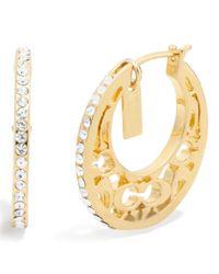 COACH | Metallic Miranda Pave Huggie Earrings | Lyst
