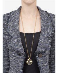 St. John - Metallic Textured Pendant Chain Necklace - Lyst