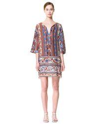 Zara | Blue Printed Vneck Tunic | Lyst