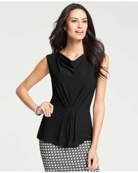 Ann Taylor | Black Cinched Waist Top | Lyst