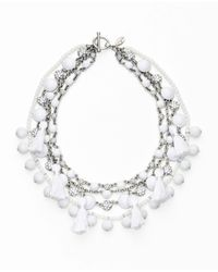 Ann Taylor - White Mixed Media Statement Necklace - Lyst