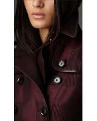 Burberry - Purple Long Check Cotton Trench Coat - Lyst