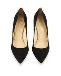Charlotte Olympia - Black Liz Suede Pump with Gold Mirror Heel - Lyst