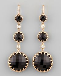 Ivanka Trump - Long Rose Gold Black Onyx And Diamond Drop Earrings On Diamond French Wire - Lyst