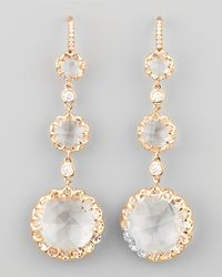 Ivanka Trump | Metallic Long Rose Gold Rock Crystal And Diamond Drop Earrings On Diamond French Wire | Lyst