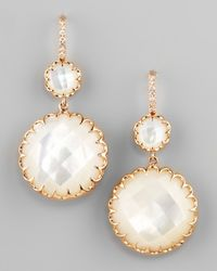Ivanka Trump - White Rose Gold Mother-Of-Pearl Drop Earrings On Diamond French Wire - Lyst