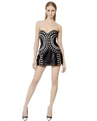 John Richmond | Black Intarsia Nappa Leather Bustier Dress | Lyst