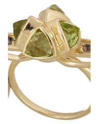 Katie Rowland | Metallic Salome 18-karat Gold-plated Peridot Three-finger Ring | Lyst