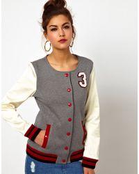 Love Moschino | Gray Collarless No 3 Varsity Jacket | Lyst