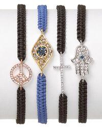 Tai - Cross Bracelet On Black Cord - Lyst