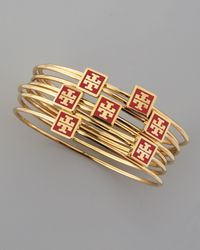 Tory Burch - Metallic Red Enamel Logo Square Bangles Set Of 7 - Lyst